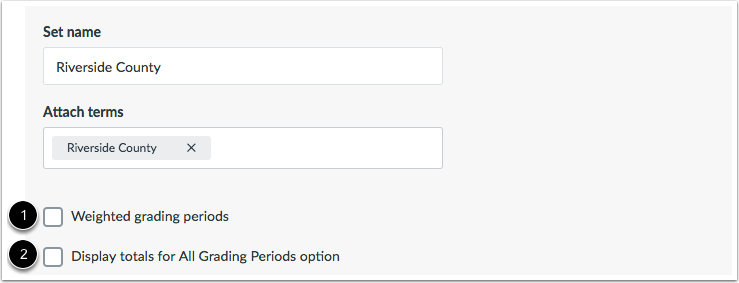 Set Grading Period Options