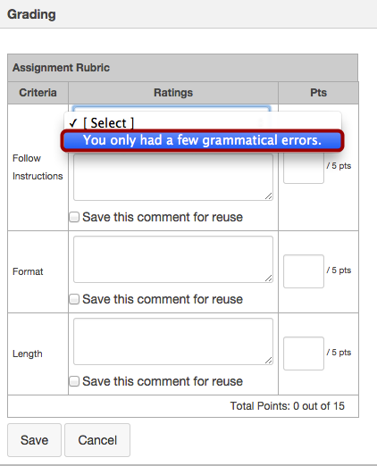 View Rubric with Free-Form Comments