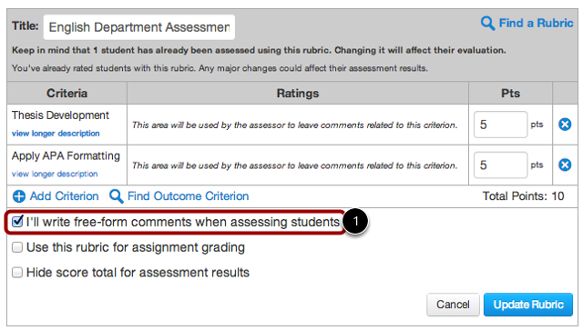 Add Free-Form Comments to Rubric