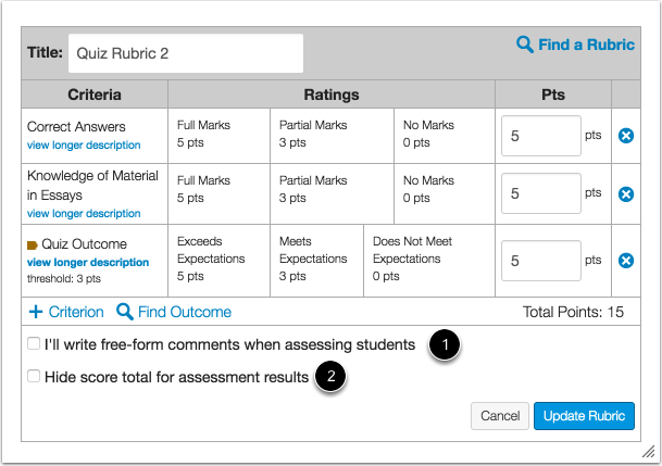 Select Rubric Settings