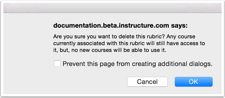 Confirm Delete Rubric