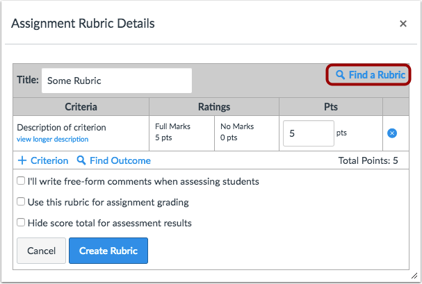Create or Find Rubric