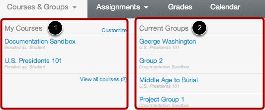Open Courses Menu - Student View