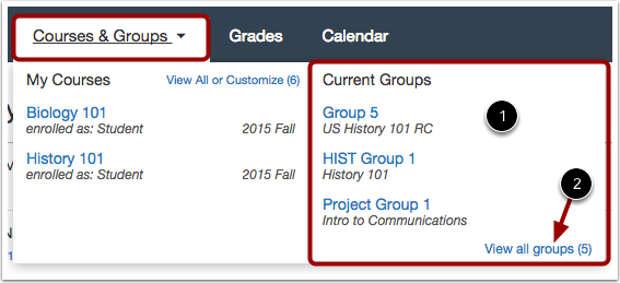 View Courses & Groups