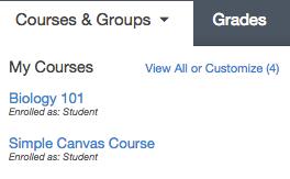 Open Course Menu