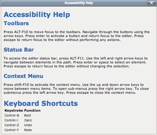 Accessibility Help Menu