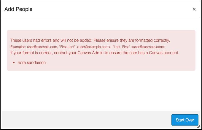 User Registration Error Message