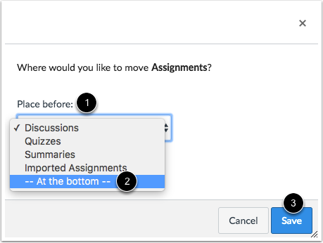 Move Assignment Group Options