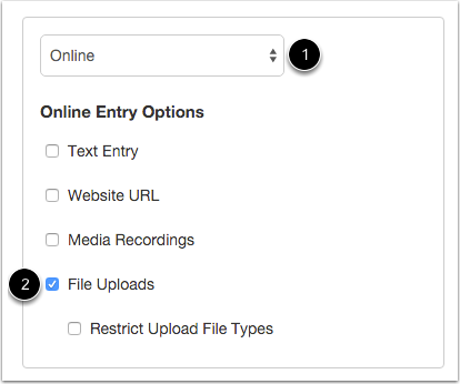 Select Online Submission Type