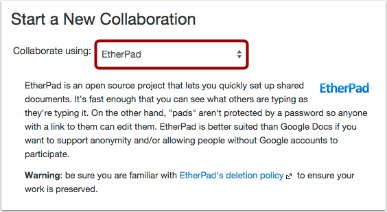 Select EtherPad