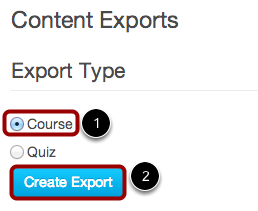 Select Export Type