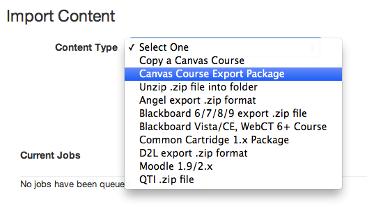 Select Canvas Course Export Package
