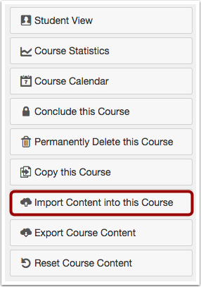 Import Course Content Button