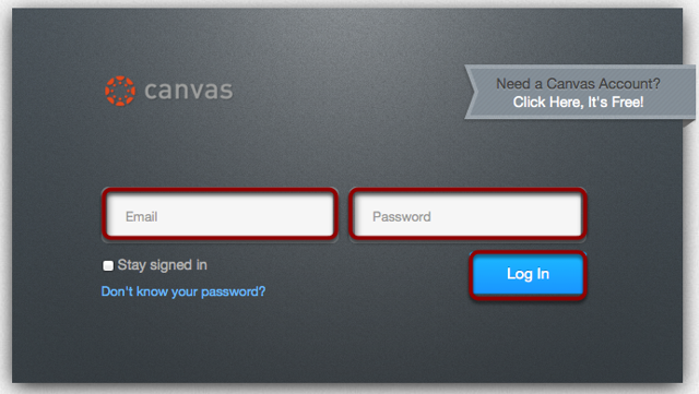 Log in to Canvas