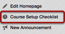 Open the Course Setup Checklist