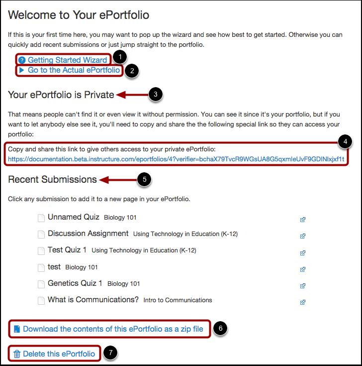 Manage ePortfolio Dashboard
