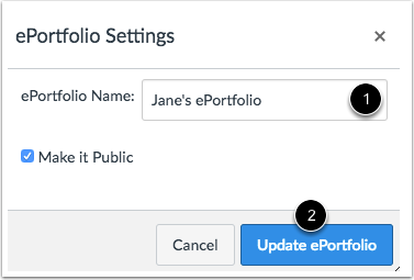Update ePortfolio