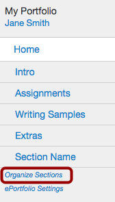 Select Organize Sections