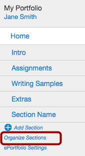 Organize Sections Link