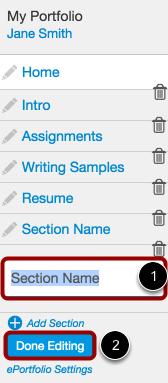 Name Your New ePortfolio Section