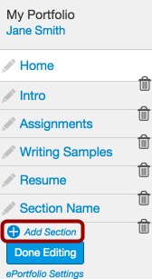 Locate Add Sections Link