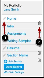 Edit ePortfolio Section Name