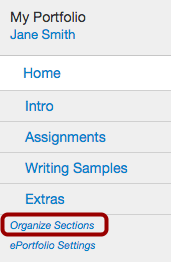 Locate Organize Sections Link