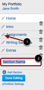 Edit ePortfolio Section Name