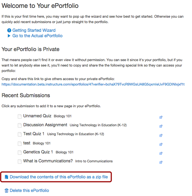 Download ePortfolio Contents