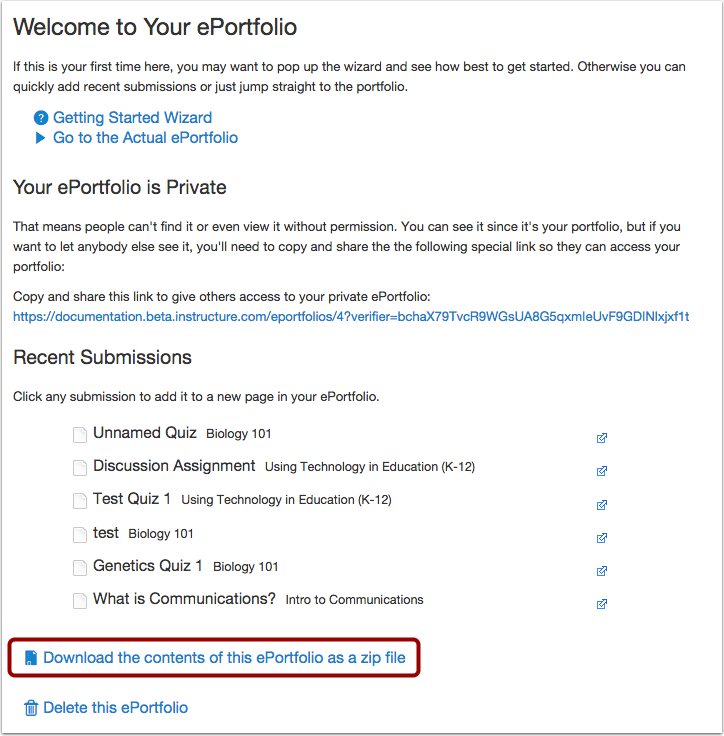Download ePortfolio Contents