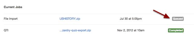 View Import Progress