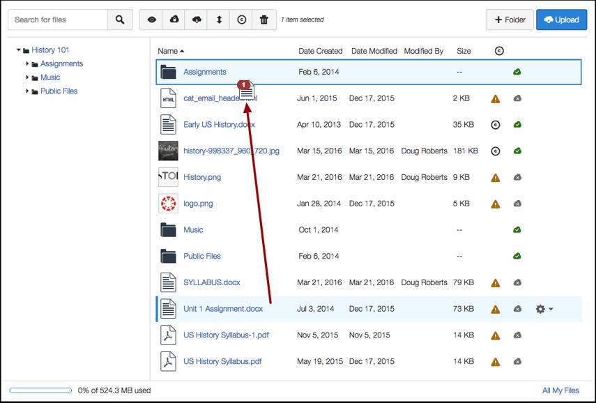 Move File via Drag and Drop