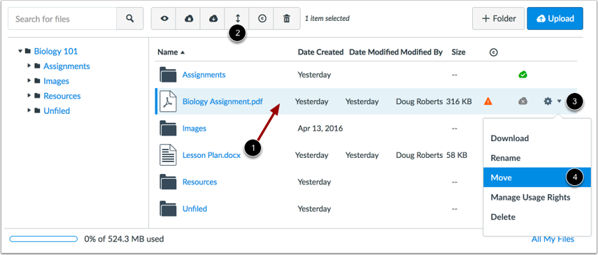 Move File via Move Button or Settings Icon