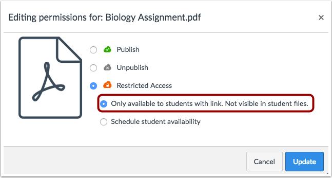 Set File Available to Students with Link