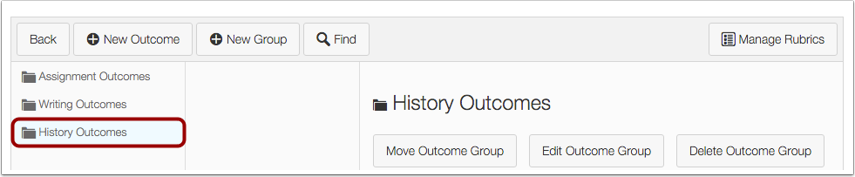 View Outcome Group