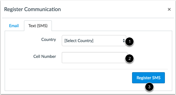 Register SMS: International