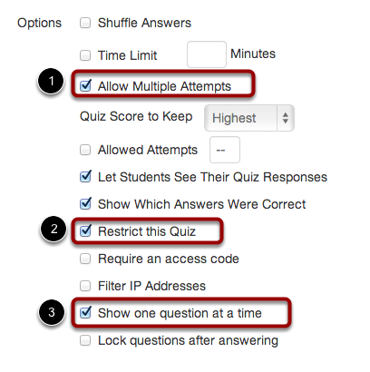 Set Quiz Options