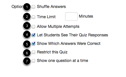 Quiz Options