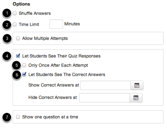Set Quiz Options