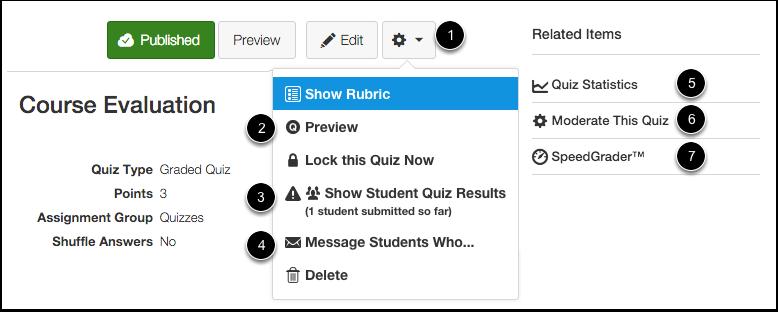 Published Quiz Options