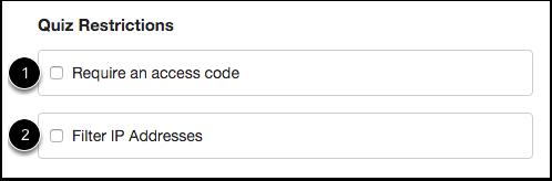 Set Quiz Restrictions