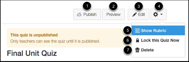 Unpublished Quiz Options