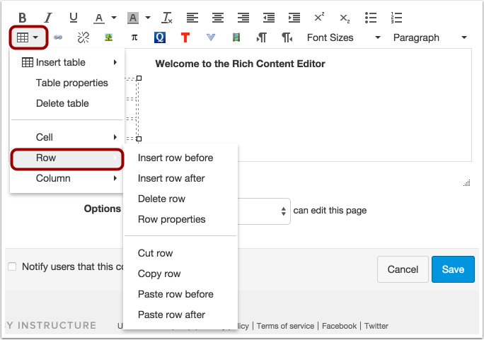 Edit Row Options