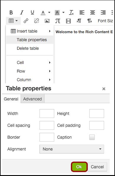 Edit General Table Properties