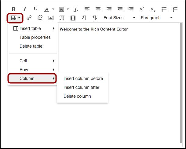 Edit Column Options