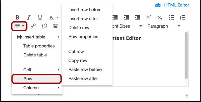 Edit Row Options