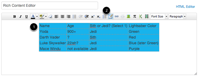 Edit Table