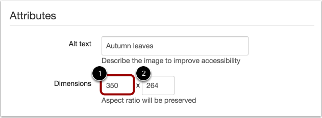 Change Attributes Image Dimensions