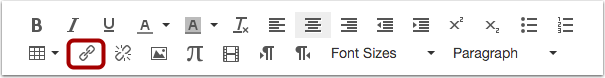 Insert Link with Hyperlink icon