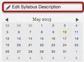 Edit Syllabus Description